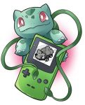 artist_request bulbasaur creatures_(company) fangs game_boy game_freak gen_1_pokemon handheld_game_console holding looking_at_viewer nintendo no_humans pixelated plant pokemon pokemon_(creature) pokemon_(game) pokemon_rgby red_eyes screen simple_background source_request vine_whip vines white_background