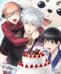 1girl 2boys :d black_eyes black_hair black_shirt brown_hair cake closed_eyes da_raku dog double_bun eyebrows_visible_through_hair food gintama glasses green_eyes hair_between_eyes happy_birthday holding holding_plate hug hug_from_behind japanese_clothes kagura_(gintama) kimono long_sleeves multiple_boys open_mouth plate red_shirt red_sleeves sadaharu sakata_gintoki shimura_shinpachi shiny shiny_hair shirt short_sleeves silver_hair smile white_kimono