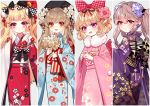 4girls :d ahoge bangs baocaizi beret black_bow black_hat black_nails blonde_hair blue_flower blue_kimono blush bow brown_flower brown_hair brown_rose checkered checkered_bow commentary_request earrings eyebrows_visible_through_hair fingernails floral_print flower flower_earrings food_themed_hair_ornament fur_collar grey_background hair_between_eyes hair_bobbles hair_bow hair_flower hair_ornament hand_up hat head_tilt highres holding holding_flower japanese_clothes jewelry kimono light_brown_hair long_hair long_sleeves looking_at_viewer looking_to_the_side multicolored multicolored_nails multiple_girls nail_polish obi open_mouth original parted_lips pinching_sleeves pink_bow pink_flower pink_kimono print_kimono purple_flower purple_kimono purple_nails red_eyes red_flower red_kimono red_nails round_teeth sash sleeves_past_wrists smile strawberry_hair_ornament teeth twintails upper_teeth very_long_hair violet_eyes white_flower white_legwear wide_sleeves