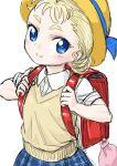 1girl backpack bag blonde_hair blue_eyes chrono_cross commentary_request hat looking_at_viewer marcy_(chrono_cross) s-a-murai school_uniform short_hair skirt smile solo