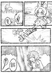 ! 2girls 4koma :3 ? ^_^ animal_ears backpack bag bare_arms bow bowtie chibi closed_eyes closed_eyes closed_mouth comic day elbow_gloves emphasis_lines extra_ears gloves grass greyscale hair_between_eyes hat hat_feather hat_removed headwear_removed helmet high-waist_skirt jumping kaban_(kemono_friends) kemono_friends medium_hair monochrome multiple_girls notora open_mouth outdoors panties pith_helmet print_gloves print_neckwear print_panties print_skirt savannah serval_(kemono_friends) serval_ears serval_print serval_tail shirt short_sleeves shorts silent_comic skirt sleeveless sleeveless_shirt smile sound_effects speech_bubble spoken_exclamation_mark spoken_question_mark striped_tail tail thigh-highs tree underwear