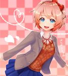 1girl blue_eyes bow collar doki_doki_literature_club hair_bow heart highres hita jacket neck_ribbon open_clothes open_jacket open_mouth pink_background pink_hair pleated_skirt red_bow red_ribbon ribbon sayori_(doki_doki_literature_club) school_uniform short_hair skirt white_collar