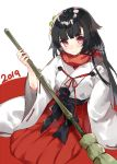 1girl 2019 bamboo_broom bangs black_hair blush broom brown_eyes commentary_request girls_frontline hakama hasegawa_(rarairairai) highres holding holding_broom japanese_clothes kimono long_hair long_sleeves looking_at_viewer red_background red_hakama red_scarf ribbon-trimmed_sleeves ribbon_trim scarf short_kimono solo two-tone_background type_100_(girls_frontline) very_long_hair white_background white_kimono wide_sleeves