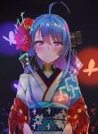absurdres ahoge azur_lane bangs blue_hair blurry blush bokeh breasts depth_of_field eyebrows_visible_through_hair flower hair_flower hair_ornament hair_ribbon helena_(azur_lane) highres japanese_clothes kimono long_hair looking_at_viewer medium_breasts obi one_side_up ribbon sash septoleaf sidelocks smile upper_body very_long_hair violet_eyes white_kimono