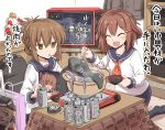 2girls alcohol bag bangs beer beer_can black_legwear blush book brown_eyes brown_hair can chopsticks cigarette closed_eyes cooking eyebrows_visible_through_hair food fruit hair_ornament hairclip highres holding holding_book ikazuchi_(kantai_collection) inazuma_(kantai_collection) indoors jacket kantai_collection kneeling kokutou_nikke kotatsu long_sleeves manga_(object) multiple_girls open_mouth orange pot prinz_eugen_(kantai_collection) red_neckwear sailor_collar school_uniform serafuku shinkaisei-kan short_hair sitting skirt smile smoking table television tentacle translated