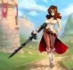 1girl beatrix belt blue_sky boots breasts brown_eyes brown_hair castle cleavage curly_hair eyepatch final_fantasy final_fantasy_ix full_body grass hand_on_hip holding holding_weapon large_breasts looking_at_viewer loose_belt medium_hair shadow sky solo standing sword typo_(requiemdusk) weapon white_footwear