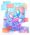 abstract_background bird commentary commission crayonchewer creature creatures_(company) cyberspace english_commentary game_freak gen_2_pokemon looking_to_the_side multicolored multicolored_background nintendo no_humans pokemon pokemon_(creature) porygon2 signature solo