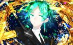 1other androgynous arrow colored_eyelashes crystal_hair gem_uniform_(houseki_no_kuni) gold golden_arms green_eyes green_hair hanata houseki_no_kuni looking_at_viewer necktie phosphophyllite short_hair solo sword upper_body weapon