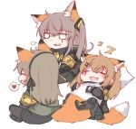 3girls 404_logo_(girls_frontline) animal_ears armband blush closed_eyes eyebrows_visible_through_hair fox_ears fox_girl fox_tail girls_frontline hair_ornament hairclip multiple_girls scar scar_across_eye siblings side_ponytail sisters sleeping tail twins twintails ump40_(girls_frontline) ump45_(girls_frontline) ump9_(girls_frontline) yuutama2804 zzz