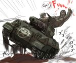 2boys black_eyes caterpillar_tracks ground_vehicle gun hey_taishou highres m18_hellcat machine_gun military military_vehicle motor_vehicle multiple_boys original tank tank_destroyer war_thunder weapon white_background
