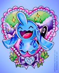:d ^_^ blue blue_background closed_eyes closed_eyes clouds colored_pencil_(medium) commentary creature creatures_(company) english_commentary flower full_body game_freak gen_3_pokemon heart nintendo no_humans open_mouth pokemon pokemon_(creature) retkikosmos smile solo sparkle traditional_media watercolor_(medium) watermark web_address wynaut