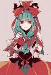 1girl bow dress front_ponytail green_eyes green_hair hair_bow hair_ribbon kagiyama_hina lace lace-trimmed_ribbon long_hair looking_at_viewer mountain_of_faith mozukuzu_(manukedori) pink_background red_dress ribbon solo touhou