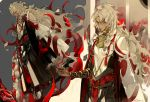 1boy armlet bangs black_nails bracelet braid closed_mouth covered_eyes dark_skin dark_skinned_male demon_pillar_(fate/grand_order) dual_persona fate/grand_order fate_(series) floating_hair from_below full_body gold grey_hair hair_rings half-closed_eyes jewelry long_hair long_sleeves looking_at_viewer male_focus messy_hair nail_polish neck_ring outstretched_arm profile red_ribbon ribbon ring rope signature single_braid sleeves_past_wrists solomon_(fate/grand_order) standing suou tassel tattoo very_long_hair wide_sleeves yellow_eyes