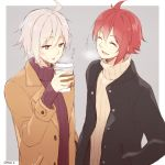 +++ 2boys :d :p ^_^ ahoge black_coat brown_coat closed_eyes coat coffee_cup cup disposable_cup grey_background grey_hair hazuki_natsu holding holding_cup idolish_7 kujou_tenn male_focus multiple_boys nanase_riku open_mouth pink_eyes red_sweater redhead ribbed_sweater simple_background smile sweatdrop sweater tongue tongue_out translated turtleneck turtleneck_sweater twitter_username upper_body white_sweater