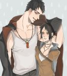 1boy 1girl black_hair breasts commentary_request dante_(dmc:_devil_may_cry) devil_may_cry dmc:_devil_may_cry facial_mark forehead_mark hood hoodie jacket jewelry kat_(dmc:_devil_may_cry) necklace open_mouth short_hair
