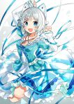 1girl :d animal_ears antenna_hair aqua_bow arm_up blue_dress blue_eyes blush bow breasts cat_hair_ornament cleavage collarbone commentary_request dennou_shoujo_youtuber_shiro dress fake_animal_ears frilled_dress frills hair_ornament hand_up highres jewelry legs_up looking_at_viewer necklace open_mouth sanpaku shiro_(dennou_shoujo_youtuber_shiro) short_hair silver_hair small_breasts smile solo tareme two-tone_dress virtual_youtuber white_background white_dress yon_(letter)