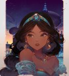 1girl aladdin_(disney) animal artist_name bare_shoulders bird blue_dress breasts brown_eyes brown_hair building collarbone commentary_request dark_skin dress earrings jasmine_(disney) jewelry kawacy long_hair looking_away looking_to_the_side night night_sky outdoors parted_lips sky small_breasts solo star_(sky) starry_sky strapless strapless_dress tiara upper_body upper_teeth
