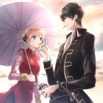 1boy 1girl black_hair black_jacket black_pants blonde_hair blue_eyes china_dress chinese_clothes da_raku double_bun dress gintama hijikata_toushirou holding holding_umbrella jacket kagura_(gintama) long_sleeves military military_uniform open_clothes open_jacket oriental_umbrella outdoors pants pink_shirt purple_umbrella red_dress sheath sheathed shirt short_hair sidelocks sleeveless sleeveless_dress standing sword umbrella uniform weapon white_neckwear