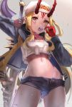 1girl absurdres ass_visible_through_thighs backwards_hat baseball_cap blonde_hair blurry breasts commentary_request cowboy_shot crop_top crop_top_overhang curly_hair denim denim_shorts depth_of_field eyelashes fate/grand_order fate_(series) forehead hat highleg_shorts highres hip_bones hips holding hood hood_down hooded_jacket ibaraki_douji_(fate/grand_order) jacket long_hair long_sleeves looking_at_viewer micro_shorts midriff nakasaku-p navel oni_horns open_clothes open_fly open_jacket open_mouth open_shorts red_horns shorts slit_pupils small_breasts solo standing stomach tank_top tongue tongue_out unbuttoned unbuttoned_shorts upshirt white_hat white_tank_top yellow_eyes