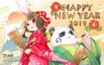 1boy 1girl 2019 animal_ears artist_request brown_hair copyright_name elin_(tera) face_painting flower furry green_kimono happy_new_year highres japanese_clothes kimono long_hair mount_fuji new_year obi official_art open_mouth panda panda_ears popori rabbit_ears red_kimono sash smile tera_online violet_eyes wallpaper