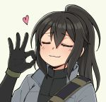 1girl =_= black_hair blush borrowed_character commentary english_commentary eyebrows_visible_through_hair gloves green_gloves grey_background hair_between_eyes heart high_ponytail long_hair nose_blush ok_sign original pas_(paxiti) portrait sidelocks smile solo strap turtleneck vivian_zhao