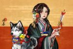 1girl arrow bell black_eyes black_hair blush braid dog egasumi flower hair_flower hair_ornament hair_over_shoulder hairband hamaya highres husky idarintarou japanese_clothes jingle_bell kimono komainu looking_at_viewer nail_polish nengajou new_year original red_background red_hairband simple_background tassel two-tone_background upper_body wide_sleeves yellow_background yellow_nails