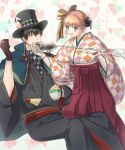 1boy 1girl bangs black_gloves black_hair black_hat black_kimono blue_eyes blush brown_hair checkered checkered_kimono checkered_neckwear da_raku eyebrows_visible_through_hair gintama gloves hair_between_eyes hair_bun hakama hat heart hijikata_toushirou holding holding_spoon invisible_chair japanese_clothes kagura_(gintama) kimono mayonnaise one_knee short_hair sidelocks sitting spoon