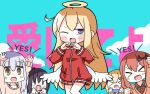 >_< 5girls :> :d ;d angel_wings arms_up background_text bangs bat_hair_ornament black_shirt blonde_hair blush brown_eyes brown_hair brown_sweater chisaki_tapris_sugarbell clenched_hands closed_mouth collared_shirt eyebrows_visible_through_hair gabriel_dropout hair_between_eyes hair_ornament halo hana_kazari hands_up heart heart_hands highres jacket kurumizawa_satanichia_mcdowell long_hair long_sleeves low_wings multiple_girls necktie one_eye_closed open_mouth red_jacket red_neckwear shiraha_raphiel_ainsworth shirt silver_hair sleeves_past_wrists smile sweater tenma_gabriel_white track_jacket translated tsukinose_vignette_april v-shaped_eyebrows very_long_hair violet_eyes white_wings wings x_arms xd ||_||
