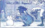 ! bow fence hair_bow long_sleeves mikakunin_de_shinkoukei mitsumine_mashiro monochrome pleated_skirt sakino_shingetsu skirt snow snowman squatting