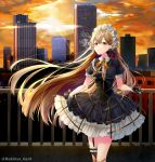 1girl backlighting bandaid bandaid_on_knee bangs black_dress black_gloves black_ribbon blonde_hair breasts brown_legwear building cigarette city cityscape clouds collared_dress commentary diffraction_spikes dress ear_piercing earrings eyebrows_visible_through_hair floating_hair frilled_dress frills girls_frontline gloves hair_between_eyes hair_ornament headdress highres holding holding_cigarette jewelry leaning_back long_hair looking_up medium_breasts neck_ribbon orange_neckwear orange_sky outdoors parted_lips piercing ppk_(girls_frontline) puffy_short_sleeves puffy_sleeves railing ribbon rukinya_(nyanko_mogumogu) short_sleeves single_garter_strap single_thighhigh sky skyscraper smoke smoking solo standing sun sunlight thigh-highs thighs twitter_username underbust very_long_hair wind x_hair_ornament yellow_eyes