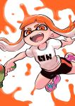 1girl bangs bike_shorts black_shorts blunt_bangs domino_mask fangs highres inkling long_hair mask open_mouth orange_eyes orange_hair paint_splatter pointy_ears shiromanta shirt shoes shorts single_vertical_stripe smile sneakers solo splatoon_(series) splattershot_(splatoon) super_soaker t-shirt tentacle_hair