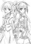 2girls :d bangs belt blush cowboy_shot eyebrows_visible_through_hair fate_testarossa gauntlets gloves hair_ribbon highres juliet_sleeves long_sleeves looking_at_viewer lyrical_nanoha magical_girl mahou_shoujo_lyrical_nanoha mahou_shoujo_lyrical_nanoha_a's mahou_shoujo_lyrical_nanoha_the_movie_2nd_a's mitarashi_kousei monochrome multiple_girls open_mouth puffy_sleeves ribbon short_twintails simple_background sketch skirt smile standing takamachi_nanoha thigh-highs twintails white_background