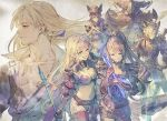 3boys 3girls :d alternate_costume alternate_hairstyle armor beatrix_(granblue_fantasy) belt black_hair blonde_hair blue_eyes bodysuit bra breasts broken broken_armor broken_weapon brown_eyes brown_hair cape cassius_(granblue_fantasy) cleavage closed_eyes draph earrings erune eustace_(granblue_fantasy) gauntlets granblue_fantasy hair_over_one_eye hat helmet holding holding_weapon holster horns ilsa_(granblue_fantasy) jewelry long_hair medium_breasts multiple_boys multiple_girls navel official_art one_eye_closed open_mouth panties ponytail shoulder_armor skirt smile tearing_up thigh-highs underwear vaseraga weapon white_hair zeta_(granblue_fantasy)