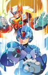 2boys android arm_cannon blonde_hair blue_eyes energy_blade energy_sword green_eyes helmet highres long_hair matt_herms multiple_boys robot rockman rockman_x sword weapon x_(rockman) zero_(rockman)