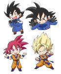 >:| 1boy :d against_glass annoyed bidarian black_eyes black_gloves black_hair blonde_hair blue_coat boots chibi clenched_hands coat dougi dragon_ball dragon_ball_super dragon_ball_super_broly dragonball_z excited fighting_stance fingernails frown full_body gloves green_eyes happy looking_away male_focus open_mouth outstretched_arm red_eyes redhead short_hair simple_background smile son_gokuu sparkling_eyes spiky_hair super_saiyan super_saiyan_god upper_body white_background winter_clothes wristband
