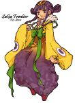 1girl arrow commentary_request dress hair_ornament japanese_clothes long_hair mai_(woood) princess_rei purple_hair saga saga_frontier solo