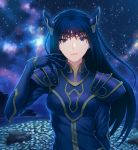 1girl armor bangs breasts circlet closed_mouth commentary_request fateline_alpha field flower flower_field gauntlets gloves hand_up highres horizon long_hair looking_at_viewer meadow medium_breasts milky_way night night_sky ocean outdoors purple_gloves purple_hair rock rose_(dragoon) shoulder_armor sky solo spaulders star_(sky) starry_sky the_legend_of_dragoon upper_body violet_eyes water