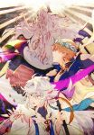 3boys absurdres arm_tattoo arm_up armlet back bangs blonde_hair blue_eyes bracelet braid cape circlet earrings eyebrows_visible_through_hair fate/grand_order fate_(series) from_behind from_below gauntlets gilgamesh gilgamesh_(caster)_(fate) gorget grey_hair hair_rings hand_up high_collar highres holding holding_staff jewelry light_rays long_hair merlin_(fate) messy_hair multiple_boys open_mouth outstretched_arm profile reaching_out red_eyes red_ribbon ribbon robe silver_hair single_braid sketch solomon_(fate/grand_order) staff tassel tattoo teeth very_long_hair yuki_1217k