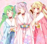 3girls alternate_costume azur_lane blonde_hair blush braid breasts closed_eyes collarbone comet_(azur_lane) crescent crescent_(azur_lane) crescent_hair_ornament cygnet_(azur_lane) eating flower food green_hair hair_bun hair_ornament hair_ribbon hairclip japanese_clothes kimono large_breasts long_hair looking_at_another meatball multiple_girls open_mouth pink_hair ribbon sakura_(ichisakupink) twintails