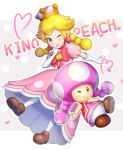 2girls ;) blonde_hair bow braid brown_footwear character_name crown dress earrings elbow_gloves finger_to_mouth gloves gonzarez grey_eyes heart highres jewelry looking_at_viewer mario_(series) multiple_girls new_super_mario_bros._u_deluxe nintendo one_eye_closed outline peachette pearl_earrings pink_dress pink_earrings puffy_short_sleeves puffy_sleeves short_sleeves smile super_crown toadette twin_braids twintails vest white_gloves white_outline