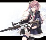 1girl ar-15 asymmetrical_legwear bangs black_gloves blue_eyes blue_jacket blush brown_hair brown_legwear closed_mouth commentary_request dress eyebrows_visible_through_hair fingerless_gloves girls_frontline gloves gun hair_between_eyes hair_ornament holding holding_gun holding_weapon jacket juna long_hair long_sleeves looking_at_viewer object_namesake one_side_up open_clothes open_jacket pantyhose pleated_dress puffy_long_sleeves puffy_sleeves rifle scope single_pantyhose solo st_ar-15_(girls_frontline) thigh_strap v-shaped_eyebrows very_long_hair weapon white_dress