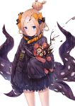1girl :o abigail_williams_(fate/grand_order) absurdres bangs black_bow black_jacket blonde_hair blue_eyes bow commentary_request crossed_bandaids demon_girl fate/grand_order fate_(series) hair_bow hair_bun heroic_spirit_traveling_outfit highres jacket key long_hair long_sleeves looking_at_viewer object_hug orange_bow parted_bangs parted_lips polka_dot polka_dot_bow red_eyes simple_background sleeves_past_fingers sleeves_past_wrists solo star stuffed_animal stuffed_toy succubus teddy_bear tentacle white_background xo_(xo17800108)
