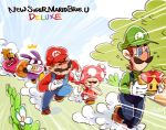 /\/\/\ 2girls 3boys blonde_hair blue_sky braid brown_hair chasing clouds copyright_name crying dress emphasis_lines facial_hair fleeing flower gloves green_shirt hat long_hair looking_back luigi mario mario_(series) multiple_boys multiple_girls mustache nabbit new_super_mario_bros._u_deluxe nintendo nowitsevenhotter overalls princess_peach red_hat red_shirt running sack shirt sky super_crown sweat toadette twin_braids vest white_gloves