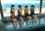 4girls akagi_(kantai_collection) arm_support backlighting bare_legs barefoot blew_andwhite blue_hair blue_sky blush breasts brown_eyes brown_hair choko_(cup) closed_mouth commentary_request cup day eye_contact green_eyes green_hair hakama_skirt hand_up highres hiryuu_(kantai_collection) holding horizon japanese_clothes kaga_(kantai_collection) kantai_collection large_breasts long_hair long_sleeves looking_at_another medium_breasts multiple_girls muneate ocean one_eye_closed open_mouth own_hands_together ripples short_hair side_ponytail sitting sky smile soaking_feet souryuu_(kantai_collection) talking tasuki tokkuri tray twintails wide_sleeves
