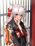 1girl amatsukaze_(kantai_collection) bangs black_kimono blush brown_eyes collarbone commentary_request cowboy_shot eyebrows_visible_through_hair fang floral_print flower gate hair_ornament hair_tubes hand_on_own_chin hand_up head_tilt highres japanese_clothes kantai_collection kimono light_particles long_hair long_sleeves looking_at_viewer obi open_mouth outdoors print_kimono ribbon sash silver_hair solo standing takanashi_kei_(hitsujikan) two_side_up wide_sleeves