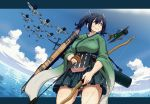 1girl aircraft apron bangs black_eyes blue_hair bow_(weapon) breasts closed_mouth clouds dagashi_(place) eyebrows_visible_through_hair gloves hair_between_eyes hair_ribbon hakama_skirt holding holding_bow_(weapon) holding_weapon japanese_clothes kantai_collection kimono large_breasts long_hair ocean outdoors partly_fingerless_gloves quiver ribbon sidelocks skirt sky smile solo souryuu_(kantai_collection) thigh_gap thighs twintails water weapon yugake