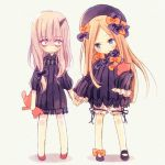 2girls abigail_williams_(fate/grand_order) bags_under_eyes bangs black_bow black_dress black_footwear black_hat blonde_hair bloomers blue_eyes blush bow bug butterfly chibi closed_mouth dress eyebrows_visible_through_hair fate/grand_order fate_(series) forehead hair_bow hand_holding hat head_tilt holding holding_stuffed_animal insect katagiri_atsuko lavinia_whateley_(fate/grand_order) long_hair long_sleeves multiple_girls object_hug orange_bow parted_bangs pink_eyes polka_dot polka_dot_bow red_footwear silver_hair sleeves_past_fingers sleeves_past_wrists smile standing stuffed_animal stuffed_toy teddy_bear underwear very_long_hair white_bloomers wide-eyed
