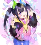+_+ 1girl :d aano_(10bit) bandaid bandaid_on_face bangs black_hair blue_nails blue_pants candy choker claw_pose cowboy_shot drawstring eyebrows_visible_through_hair fangs food green_nails hands_up highres hood hood_down hoodie horns jacket jelly_bean long_hair long_sleeves looking_at_viewer multicolored multicolored_nails nail_polish open_mouth original pants partially_unzipped pink_choker pink_jacket pointy_ears puffy_sleeves raglan_sleeves red_nails sidelocks smile solo standing twintails v-shaped_eyebrows violet_eyes yellow_hoodie yellow_nails zipper zipper_pull_tab
