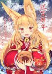 1girl absurdres animal_ears bell bell_collar between_breasts blonde_hair blush boar breasts chinese_zodiac collar fox_ears happy_new_year highres huge_breasts japanese_clothes kimono long_hair looking_at_viewer new_year open_mouth orange_eyes original shinoshinosp smile solo year_of_the_pig