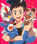 1boy :d baseball_cap bird black_hair black_hat blue_eyes claws creatures_(company) game_freak gen_5_pokemon gen_7_pokemon grey_eyes hat holding koma_saburou looking_at_viewer male_focus nintendo open_mouth outline patterned_background pink_background poke_ball poke_ball_(generic) pokemon pokemon_(game) pokemon_sm popplio rockruff sitting_on_shoulder sleeveless smile upper_body white_outline you_(pokemon)